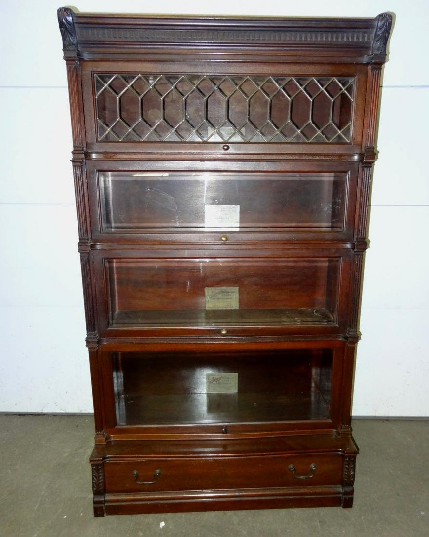 Rare Ideal Mahogany Leaded Glass Stacking Bookcase