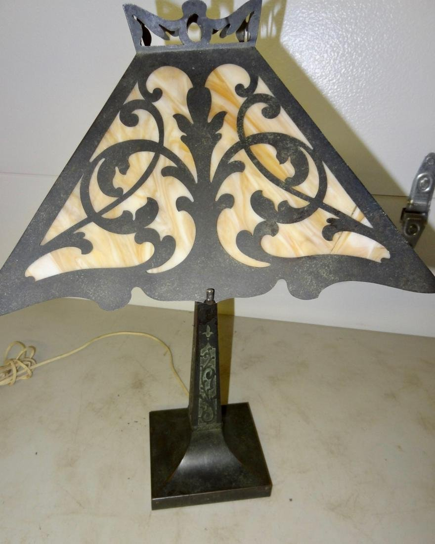 Ornate Mission Slag Glass Table Lamp