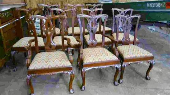 Set of 10 Chippendale Style Chairs Needs New Picture