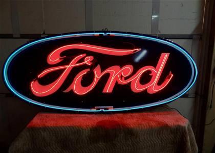 Oval Neon Porcelain Ford Dealership Sign