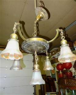Brass Simplistic Hanging Fixture wNuart Shades