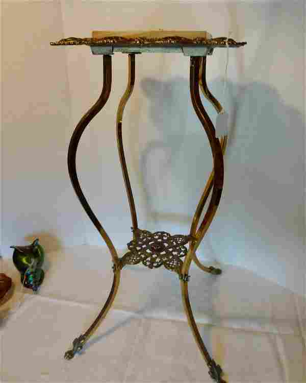 Victorian Brass and Onyx Stand