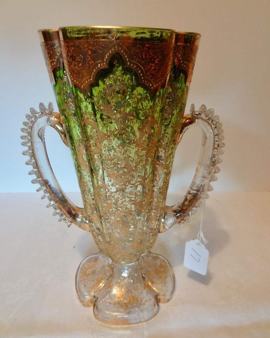 Large Heavily Enameled 2 Handled Vase