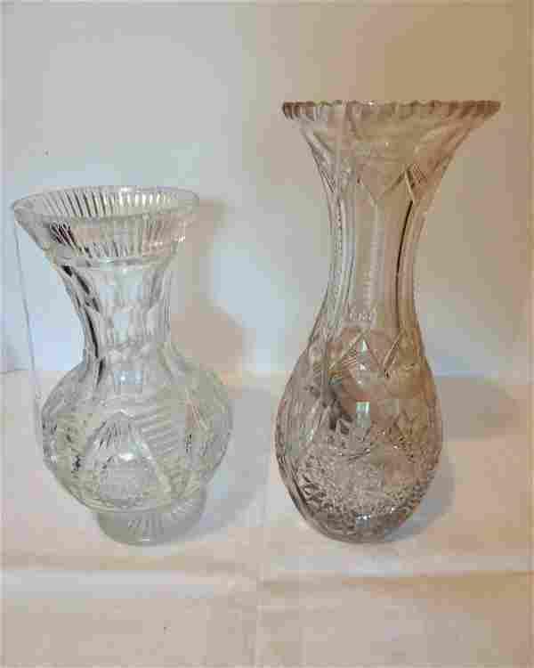 Two Brilliant Cut Glass Vases