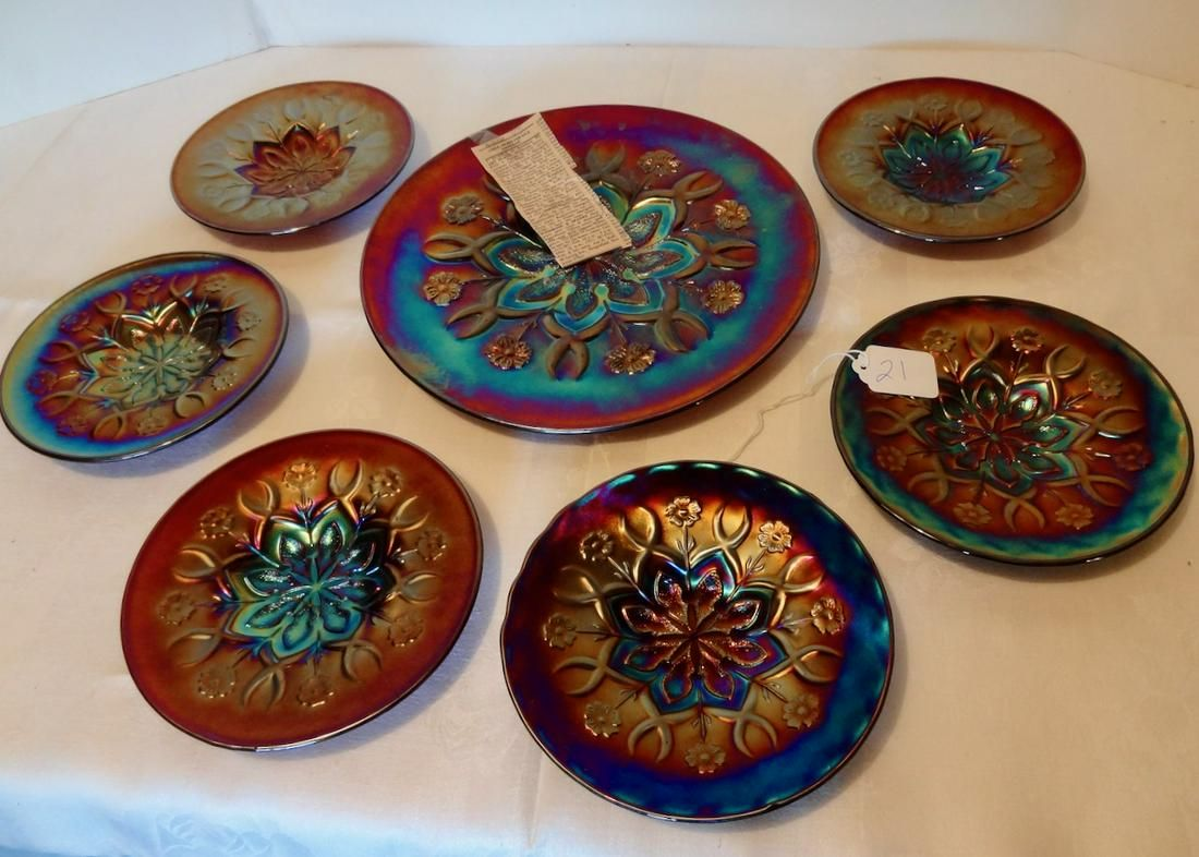 7 Piece Carnival Luncheon Set with Heavy Iridescence