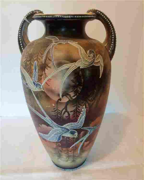Large Japanes Vase with Blue Birds