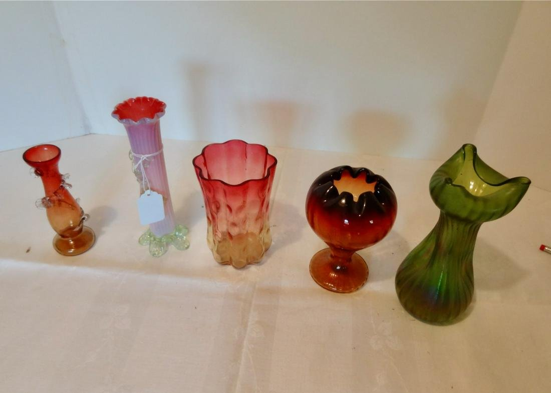 5 Small Art Glass Vases