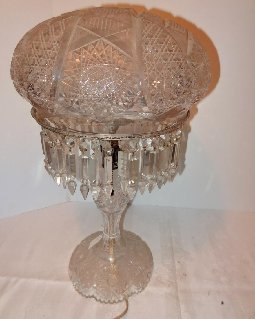 Large Early Cut Glass Lamp with Prizms