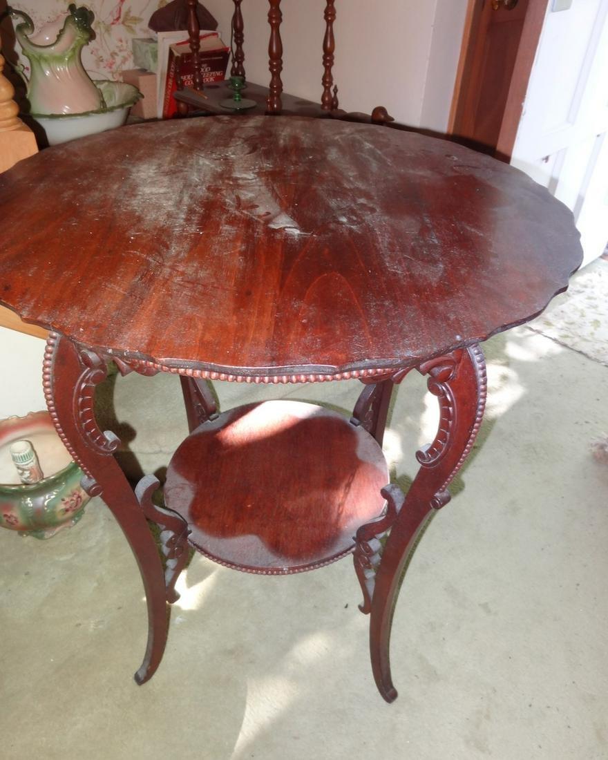 Carved Mahogany Lamp Table