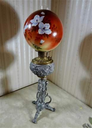 Ornate Figural Banquet Lamp w/Cupid Font