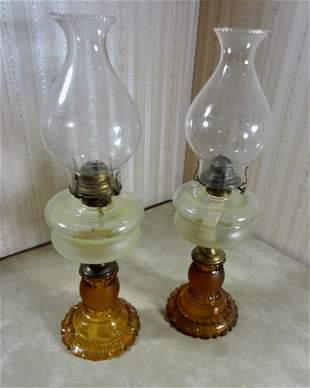 2 Early Amber Glass Kerosene Oil Lamps