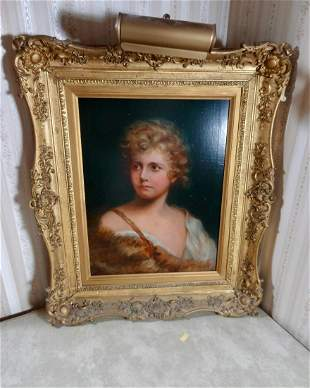 Painting O.O.C. Young Girl in Ornate Frame