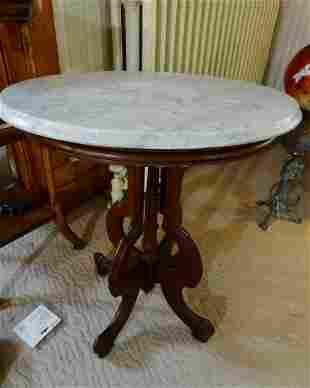 Walnut Marble Top Oval Table