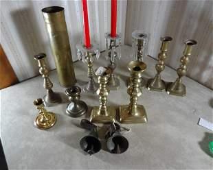 Large Lot of Brass Candlestics Artillary Shells