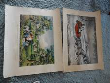 2 large Currier & Ives prints
