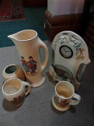 5 pieces pottery clock