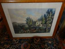 Framed Currier  Ives Lithograph