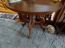 Oval Victorian walnut table