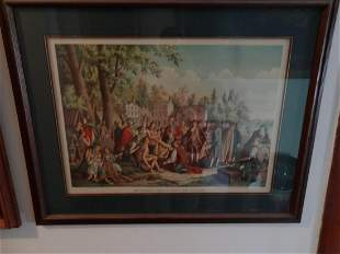 Large framed WmPenns treaty w the indians print