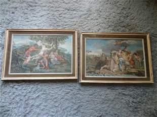 2 framed prints cow with maidens