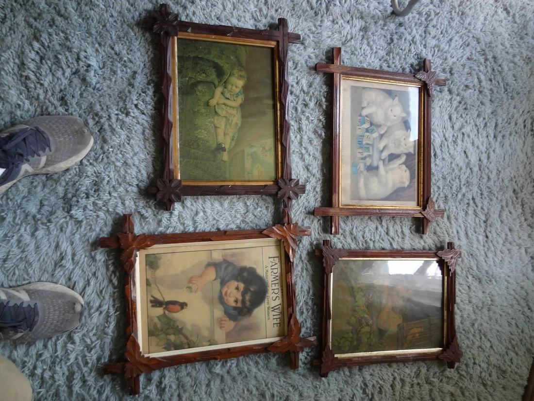4 framed Currier & Ives lithographs