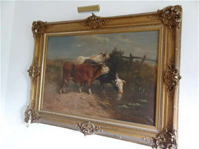 Large oil on canvas Cow painting ornate frame