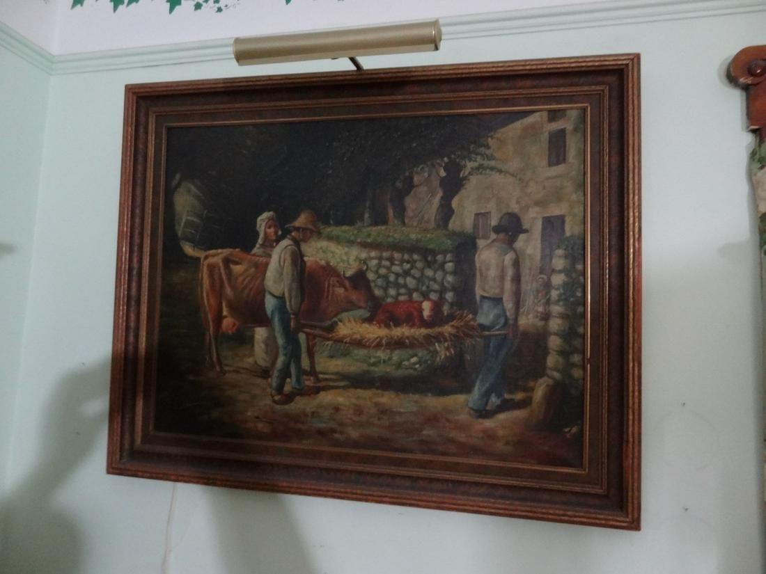 Signed Edmund Blume oil on canvas Farm scene