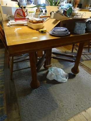 Square Oak Table w 4 matching chairs