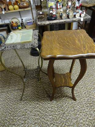 Marble top and Oak fern stands