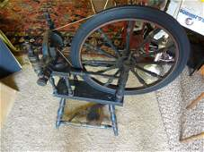 Early blue painted spinning wheel