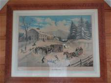 Large Currier  Ives framed litho of Winter