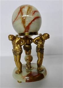 Onyx & Metal Clock Hobby Statue