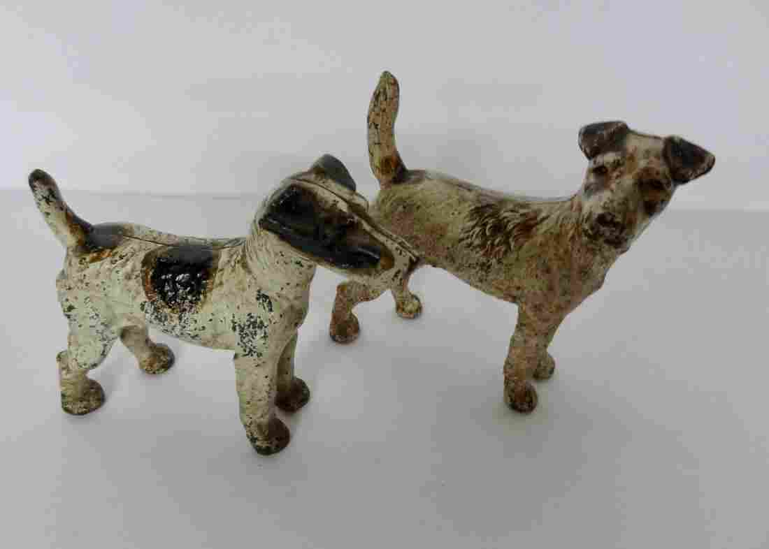 2 Cast Iron Boston Terrier Doorstops