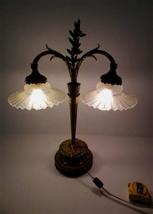 French Bronze & Marble Double Armed Desk Lamp