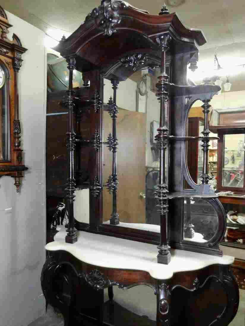 Ornate Rosewood Etege w/Marble Top