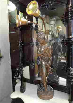 Large Victorian 2 Light Lady Neul Post