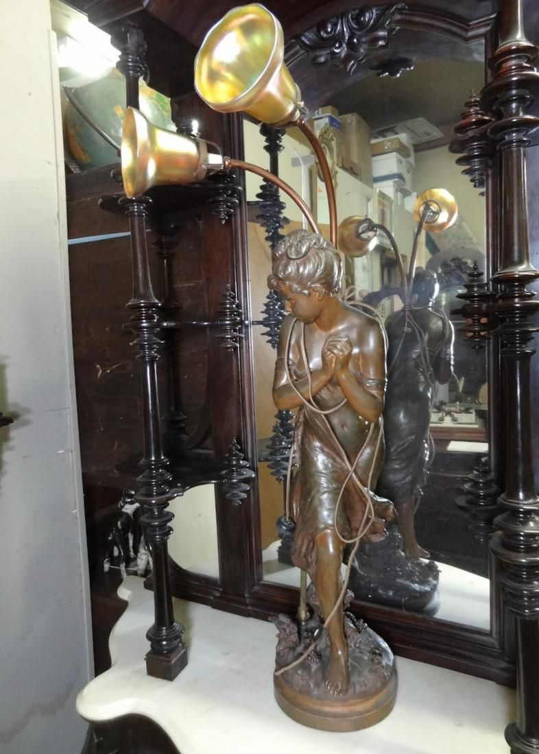 Large Victorian 2 Light Lady Neul Post