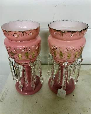 Pair of Decorated Bristol Lusters in Pink