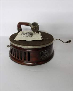 Small Stewart Grained Painted Wind Up Phonograph
