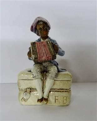 Majelica Tobacco Jar w/Black Man Playing Accordian