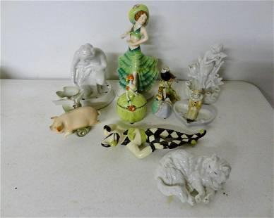 10 Bisque Porcelain Figures