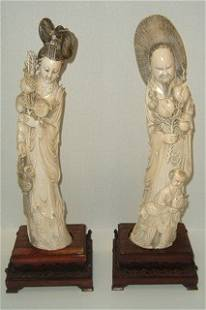 Fabulous Pair of Carved Ivory Figures