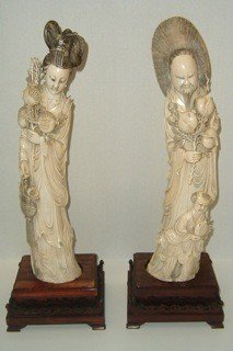 7: Fabulous Pair of Carved Ivory Figures