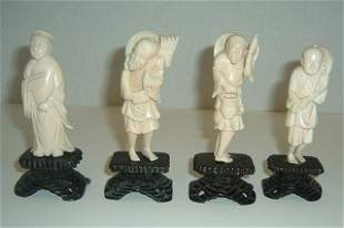 Four Carved Ivory Figures