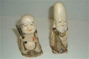 Two Signed Japanese Polychromed Ivory Figures