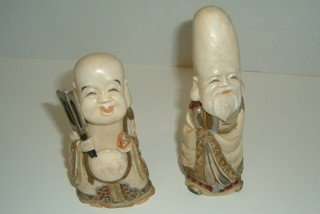 11: Two Signed Japanese Polychromed Ivory Figures