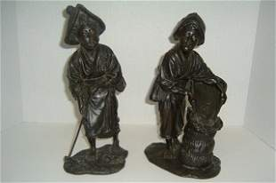 Pair of Large Signed Asian Bronze Figures