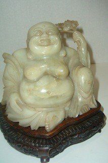 15: Nyphrite Carved Buddha on Stand