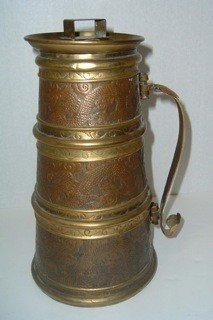 19: Early Handmade Copper, Brass, and Lead Tankard