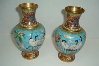 22: Pair of Cloisenne Vases